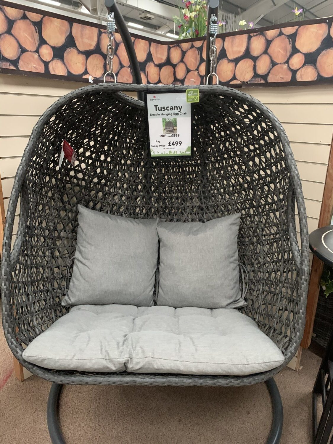 Supremo Tuscany Rydal Deluxe Double Hanging Egg Chair Storm Grey Weave Burleydam Garden Centre